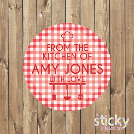 Personalised Baking Labels - Gingham Design